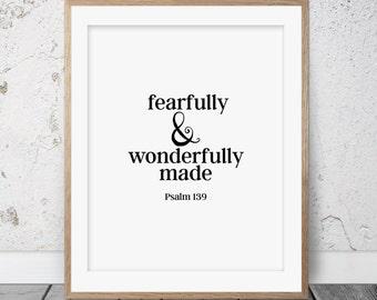 Nursery wall art, Fearfully and wonderfully made, Bible verse, Scripture art, Bible verse print, Psalm 139, Nursery bible verse, Nursey, 021