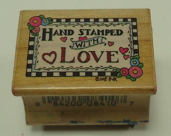 Hand Stamped With Love Wood Mounted Rubber Stamp By All Night Media Checkerboard Hand Stamped 841D