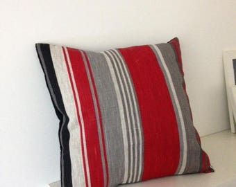 Striped pillow cover red black and gray