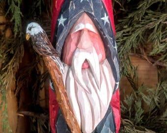 Hand Carved Americana Folk Art Santa