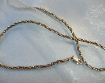 9.25 Silver Rope Style with Silver Beads Entwined , Necklace, Made in Italy