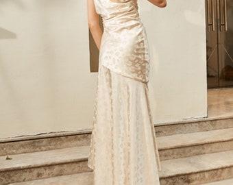 Classic 60s Collection ivory jacquard irregular elegant goddess gown dress