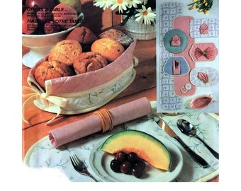 Table Linens Craft Package, Table Runner, Placemats, Napkins, Bread Basket, Coasters Sewing Pattern Uncut McCall's 2446