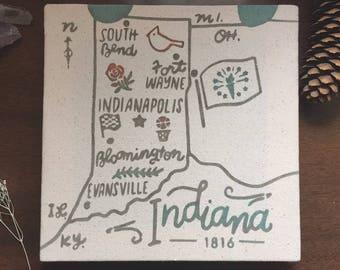 Indiana Souvenir Map 8 x 8 Canvas Screen Printed Home Decor Wall Art