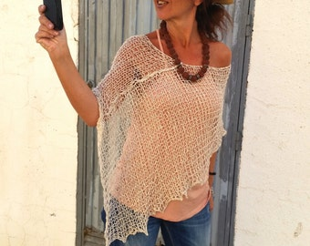 Summer cream poncho, linen knit top, knit cotton poncho, summer , boho chic style, beach cover up, natural fibers, neutral colors
