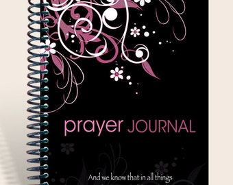 Personalized Notebook / Prayer Journal - Oriental Flair - pink - Romans 8:28/