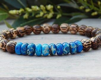 Men's Bracelet, Wood Bracelet, Blue Bracelet, Jasper Bracelet, Nature Jewelry, Mens Jewelry, Mens Bracelet, Beaded Bracelet, Gift for Him