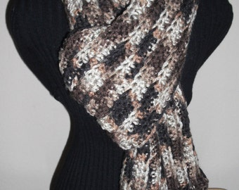 Brown's/Beige's Crochet Scarf, Winter Scarf, Fashion Scarf, Women's Scarf, Crocheted Scarves