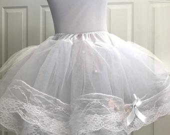 "16"" Lots Of Laces Layers White Ribbon Lolita Princess petticoat Slip"