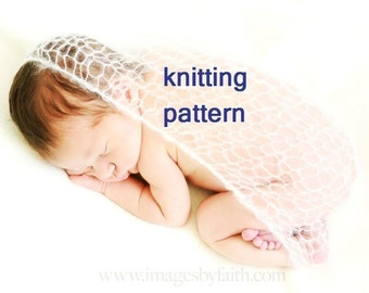 KNITTING PATTERN, Number 104 -- Lacy Wrap for Infant Photography -- PDF usually emailed to you within 12 hours -- Includes permission to sell