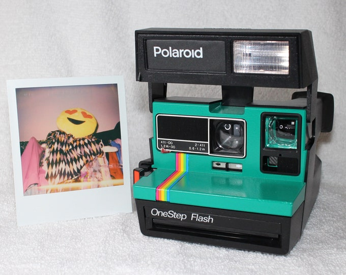 Upcycled Emerald Green Rainbow Polaroid OneStep Flash With CloseUp Lens