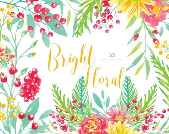 Watercolor Bright Floral Clip Art, Hand Painted Elements, Invitations, Greeting Card, Blog, Floral Graphics,Wedding,DIY Elements Pink,Yellow