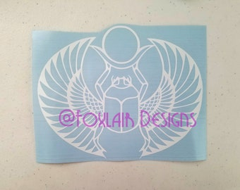 Winged Scarab Beetle vinyl decal Ancient Egyptian Khepri Insect Egypt sun metaphysical rebirth pagan mystical spiritual Egyptology