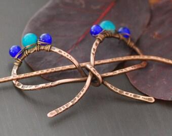 Blue agate hair slide Boho hair barrette Hair Stick Barrette Bun Holder Hair Clip Hair Pin Bohemian style hair accessories Hair Fork Scarf