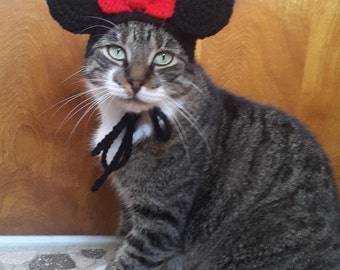 Girl Mouse Ears Cat Hat, Knit Hat for Cat, cat costume, halloween