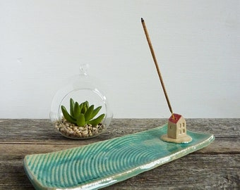 incense holder, incense burner turquoise, incense stick holder, ceramic house, yoga and meditation gift