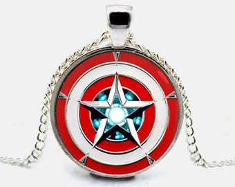 Captain America Necklace Iron Man Pendant Arc Reactor Necklace Jewelry Gift (with jewelry box)