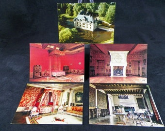 Batch of 5 postcards in color chateau of Azay le Rideau. Vintage French 1970 | Art Yvon Publisher