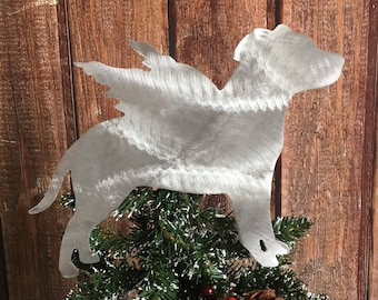 Staffordshire Bull Terrier, Pit Bull, Natural Ears, Tree Topper, Angel, Wall Art or Dog Wreath Decor, Holiday Decoration, Aluminum, bauble