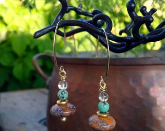 Earrings natural stones and glass beads