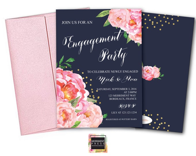 Engagement party Invitation // She said yes // Peonies // Peony//Navy // Blue //Bridal Invite // Pink // Gold Glitter // BORDEAUX COLLECTION