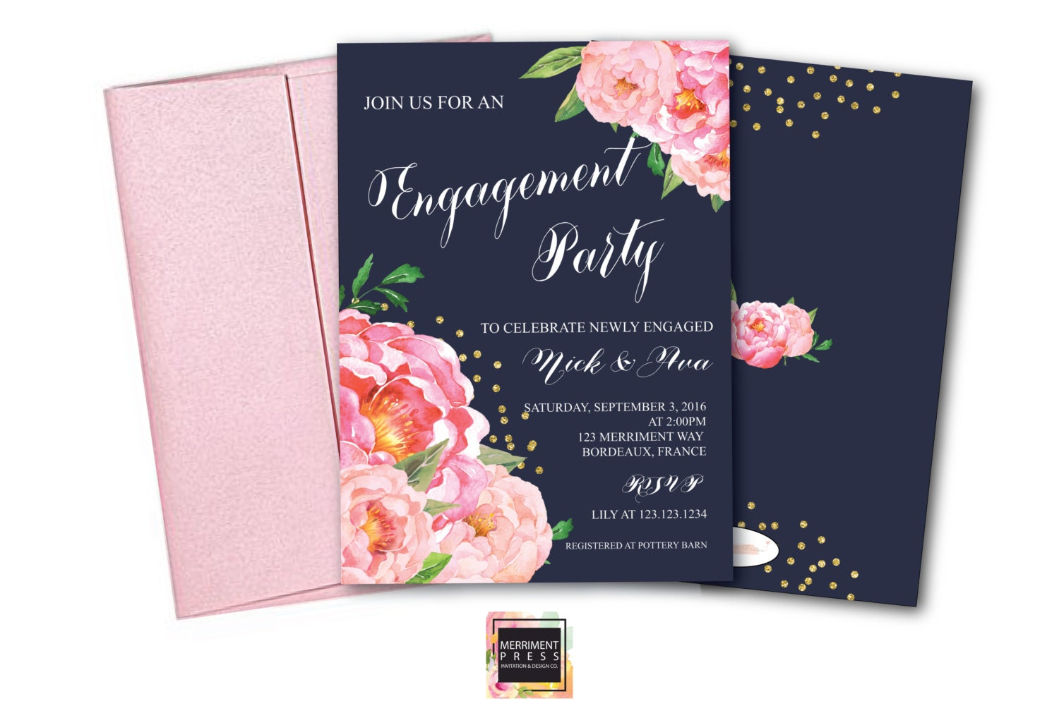 Engagement party Invitation She said yes Peonies Peony