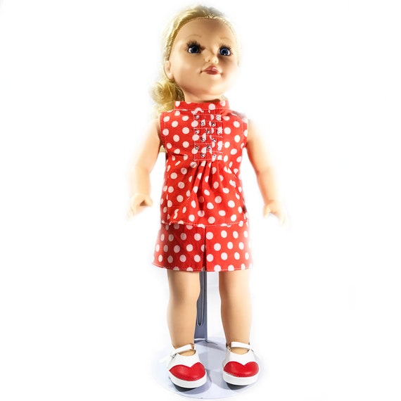 "Two-piece Outfit (Blouse and Skirt) Made for American Girl and Other 18"" Dolls: Red and White Polka Dot Print"