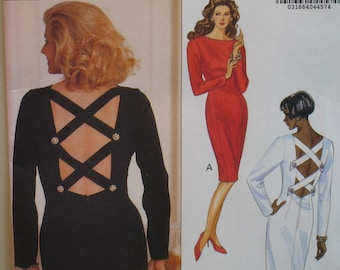 "Open Back Cocktail Dress, Criss Cross Straps, Fitted, Long Sleeves, Butterick No. 4990 UNCUT Size 6, 8, 10 (Bust 30.5 to 32.5"", 78 to 83cm)"