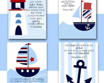 Nursery wall art NAUTICAL theme Boat Lighthouse Anchor with Bible Verses Instant download Kids room