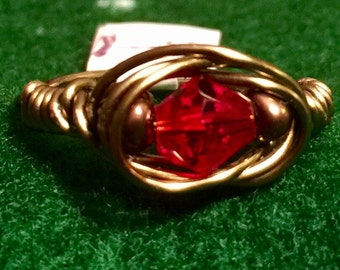 Antique Brass wrapped Red crystal ring