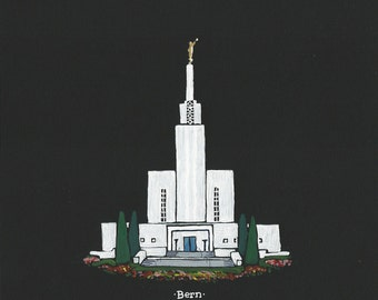 Bern Switzerland LDS Temple acrylic painting 8x10
