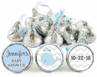 Set of 108 - Nautical Boy Baby Shower Stickers for Hershey's Kisses. Nautical Baby Shower Favors - Nautical Kiss Stickers - #IDBBS604