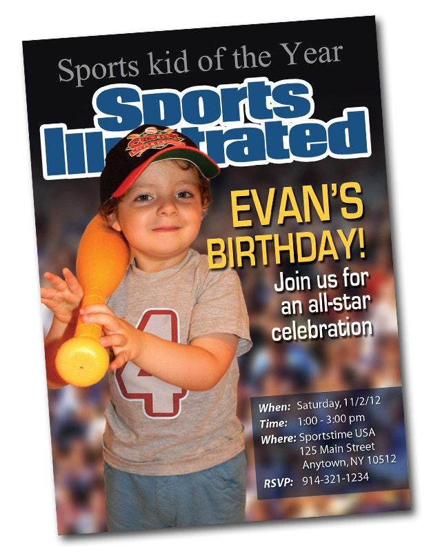 Sports Magazine Cover Personalized Birthday Invitation
