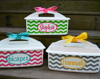 Personalized White Shower Caddy with Chevron Design and Name; Perfect Graduation Present; Also great gift for a Teacher's Classroom