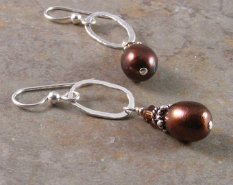 Fine Silver and Freshwater Pearl Earrings