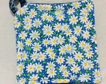 Upcycled Denim Potholder Flowers Daisies
