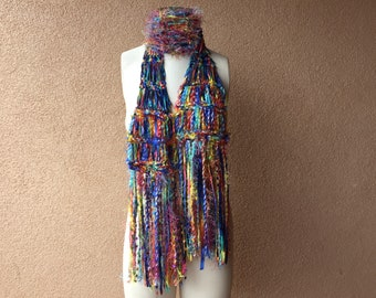 Rainbow Ribbon Scarf Ready to Ship Gift Rainbow Scarf with Multicolor Fringe
