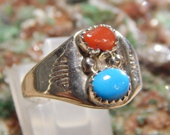 Native American Sterling Turquoise Coral Ring