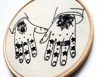 """EMBROIDERY KIT Tattooed Hands """" To the Stars My Love"""""""