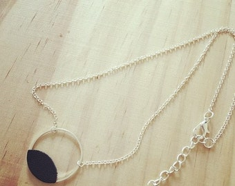 Fine silver plated brass ring with its petal in black leather chain necklace