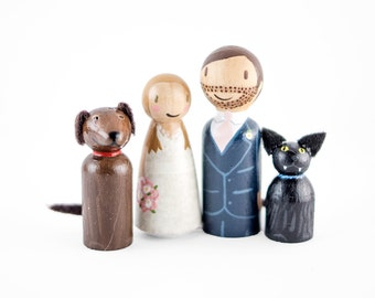 Custom Peg People Cake Topper with pets - peg couple and pets wedding cake topper - cute cake topper - dog lovers cake topper - cat wedding