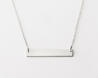 Wish - sterling silver horizontal bar necklace - minimal silver bar necklace - everyday silver necklace - bridesmaid favour