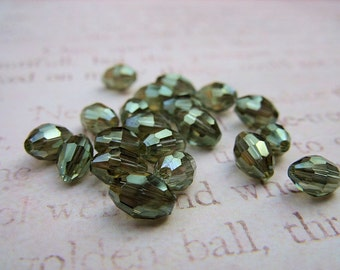 Olive Green Faceted Beads - 7MM x 5MM - B-8009