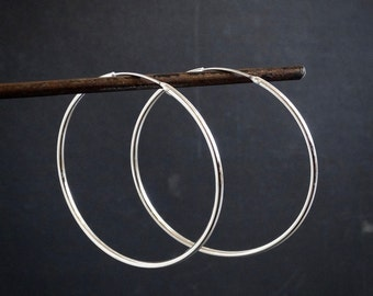 Silver Hoop Earrings, Large Silver Hoops, Simple Hoops, Classic Hoops, Modern Earrings, Minimal Earrings, Sterling Silver, 925
