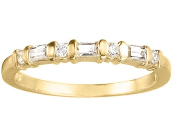 Exquisite .28ct Bar Set Round and Baguette Cubic Zirconia 10k Gold Band - Straight Wedding Ring - Unique Anniversary Band