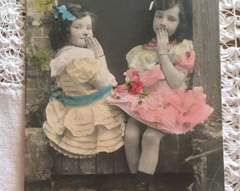 Antique postcard of 2 children sitting on a window sill - Real photo  - Hand tinted photo -  Wall decor