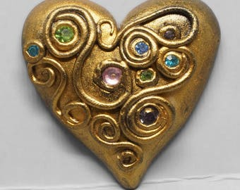 Gold Heart Cabochon, Spirals, Swirls and Green, Pink, Purple and Blue Rhinestones, Polymer Clay