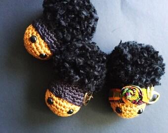 Kente Cloth Afro Puff Purse Charm