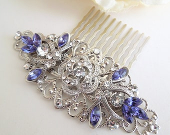 crystal hair comb bridal hair comb wedding hair comb rhinestone hair comb  swarovski crystal statement hair comb purple hair comb ROSELANI