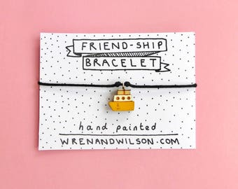 Handmade Friendship bracelet, yellow charm - Mothers day gift. playful, painted laser cut jewellery. Best friend gift. FREE UK SHIPPING!